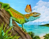 "Carolyn Steele tropical art print, Caribbean island, beach, comical lizard and butterfly: ""Lizard Landing"""