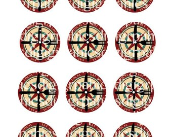"""18 mason jar EAT LOCAL compass rose round canning labels two digital download sheets 2"""" and 2.5"""""""