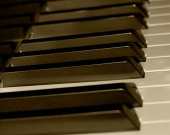 DIGITAL DOWNLOAD, Piano Keys, Sepia Tone, Old-Fashioned Image, Music Art, stock photo, available in print