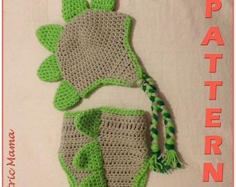 Dinosaur Beanie & Nappy Cover - Newborn Set - Crochet Pattern