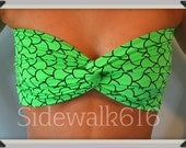 Bright Green Scale Print Bandea Top Spandex Bandeau Bikini Swimsuit