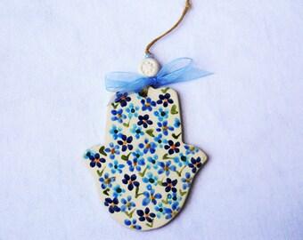 Ceramic Hamsa-Jewel of wall-Judaica-Blue  flowers Romantic