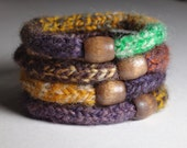 Hand Dyed~Hand Spun 100% Wool Fleted Knit Bracelets. Set of 4. - GreenBeltFarm