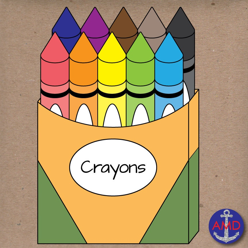 Back to School Crayons Clip Art School Supplies CrayolaCrayon Markers Clipart