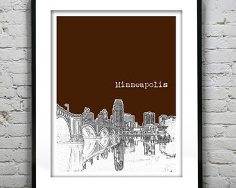 Minneapolis Minnesota Poster Art Skyline Print Bridge Version 1 MN