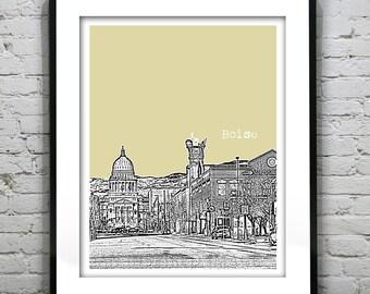 Boise Idaho Poster Skyline Art Print