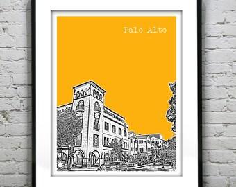 Palo Alto California Poster Art Skyline Print
