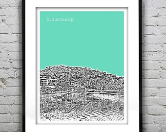 Zihuatanejo Beach Poster Art Skyline Guerrero Mexico Print