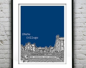State College Skyline Poster Print Art Pennsylvania Penn State University Version 2
