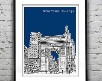 Greenwich Village Skyline Art Print Poster The Washington Square Arch Manhattan New York City NY