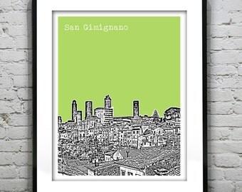 San Gimignano Italy City Skyline Poster Art Print