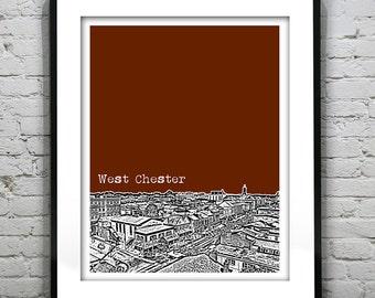 West Chester Skyline Poster Art Print Pennsylvania PA