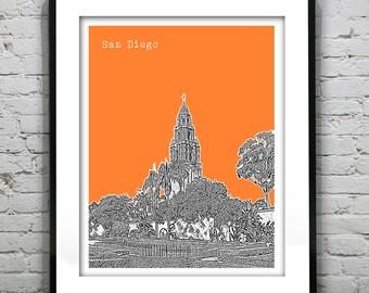 San Diego California Skyline Art Print Poster CA Balboa Park Version 5