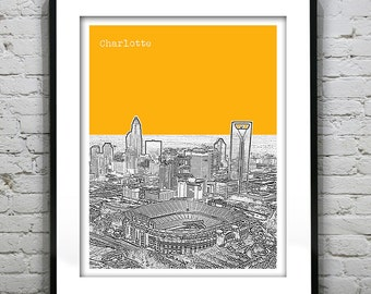 Charlotte North Carolina Skyline Poster Art Print NC Version 3