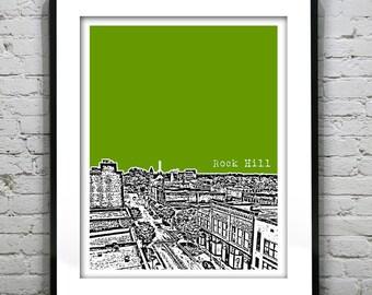 Rock Hill South Carolina City Skyline Poster Art Print SC