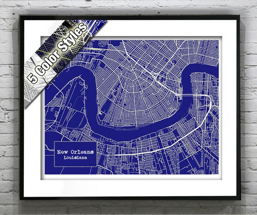 New Orleans Louisiana Blueprint Map Poster Art Print