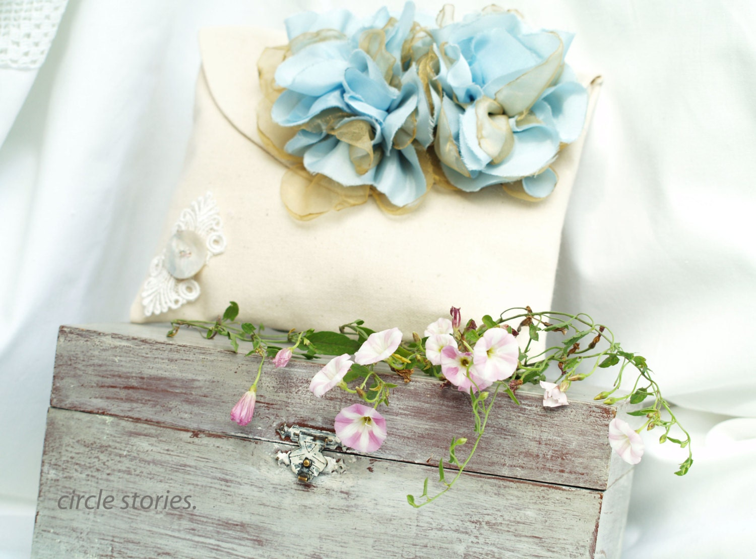 Ivory linen clutch blue silk flowers champagne cream blue ivory linen clutch blue silk flowers champagne cream blue cocktail purse ivory izmirmasajfo Gallery
