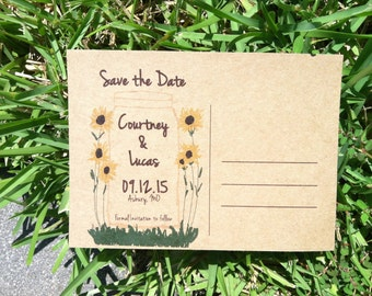 Mason Jar with sunflowers save the dates postcard