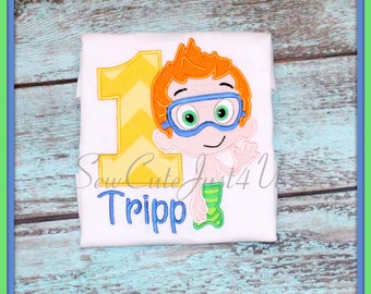 Bubble Fish Themed Birthday Number Shirt