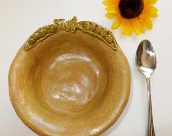 Spring Pea Soup Bowl, Rustic Handmade Stoneware