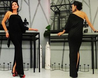 Black  one shoulder evening long dress Elegance all size