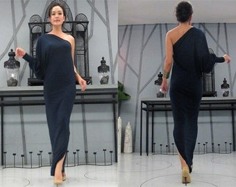 Navy blue one shoulder evening long dress Elegance all size