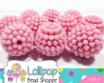 PINK Berry Beads 20mm Beads Raspberry Beads Vintage Style Beads 10-ct Chunky Beads Bubblegum Beads Acrylic Beads Opaque Bubble Gum Beads