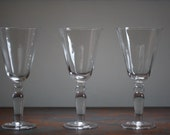 Finely Crafted set of 8 Unused Vintage Hand Blown Clear Glass Wine Goblets Hand Blown Wine Glasses