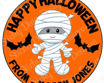 PERSONALIZED STICKERS - Halloween Mummy Personalized Monogrammed Labels -Perfect for Treat Bags - Round Gloss Labels