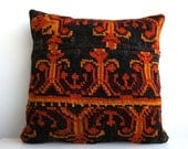 CLEARANCE 16x16 Vintage Hand Woven Turkish Kilim Pillow  - Old  Kilim Cushion 164, Red, Floral, black, orange, green, gold, moldovian