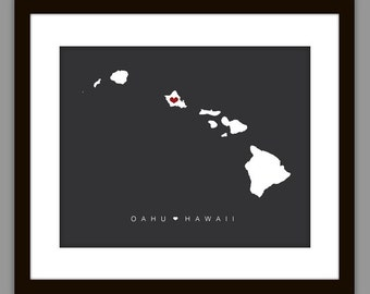 Printable Oahu Hawaii Wedding Map Print