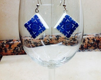 Earrings with Portuguese tile