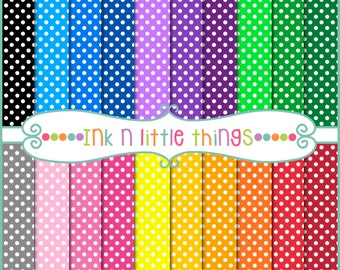 20 Digital Papers - Mini Dots - 20 Colorful Digital Papers - INSTANT DOWNLOAD