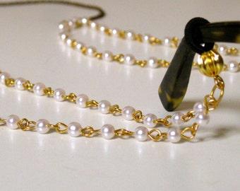 Retro Nerd-Chic Gold & Pearl Eyeglass Chain, Double-Strand