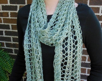Sage Green Scarf Hand Knit Light Weight Lacy Open Weave Fashion Scarf