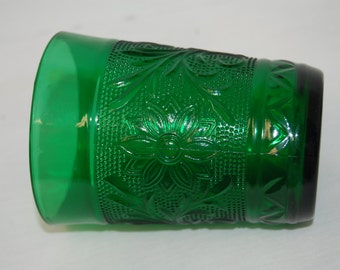 Vintage Green Sandwich Water Glasses Pressed Glass by Anchor Hocking