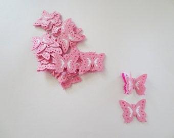 20 Pink 3D Die Cut Butterfly