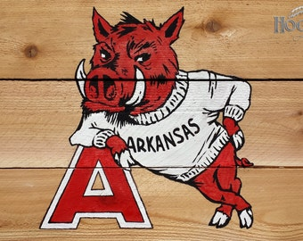 "Arkansas Razorback painting ""Big Red"" on hand-made wooden canvas."