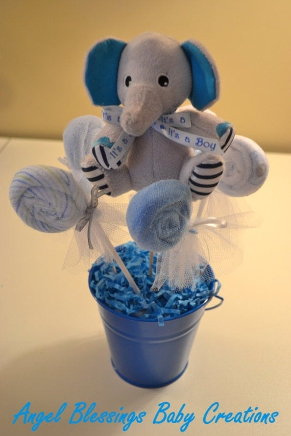 Centros de mesa baby shower niña elefante - Imagui