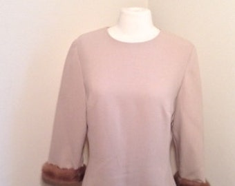 Vintage 1950's Woman's Blouse with Fur Trimmed Sleeves