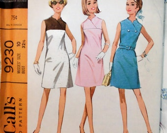 VINTAGE 1968 McCall's 9230 COLOR BLOCK Dress Pattern sz 10 UNcut
