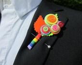 Summer Fun Buttonhole / Boutonnière  Groom Wedding Birthday Gift Flower Alternative Rainbow