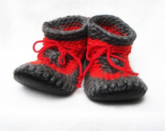 Knitting Patterns For Slippers With Leather Soles : Popular items for leather sole on Etsy