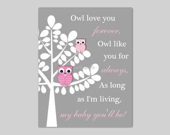 Baby Owl Nursery Art Owl Nursery Bedding Decor Owl Love You Forever Print Woodland Nursery Art I'll Love You Forever CHOOSE COLORS - OW1508