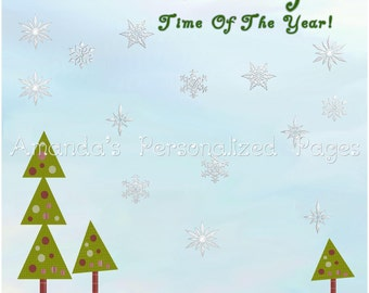 12x12 1-page Personalized Scrapbook  Paper (Wonderful Time Of Year)
