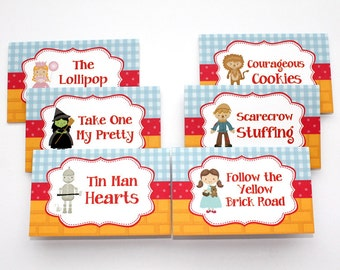 Wizard of Oz Birthday Party - Set of 8 Food Label Table Tents