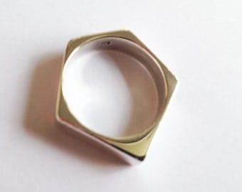 Sterling Silver Hexagonal Ring