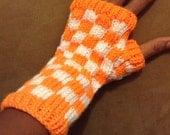 Orange & White Knit Checkerboard Patterned Fingerless Gloves