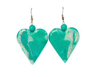 Polymer clay earrings Mint earrings Green earrings Heart earrings Pastel earrings White earrings Valentines day Dangle earrings Beadwork