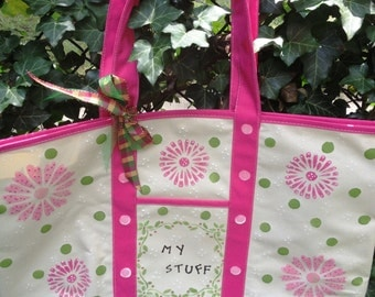 """Handpainted heavy duty waterproof backed canvas tote. Bag measurements are 20"""" W x 14 H x 6 1/2"""" D. Pick by number"""